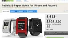 Screen shot of Pebble Kickstarter crowdfunding page