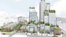 An artistic rendering of the proposed development at Mirvish Village, which will include affordable housing and retail space.