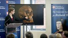 Osteoarchaeologist Jo Appleby describes her findings at a news conference at Leicester University in England. In one of Britain's most dramatic modern archaeological finds, researchers announced that skeletal remains found under a parking lot in Leicester were those of King Richard III, paving the way for a possible reassessment of his brief but violent reign. (ANDREW TESTA/NYT)