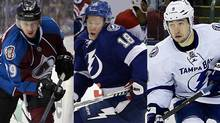 Calder Trophy finalists, from left, Nathan MacKinnon, Ondrej Palat and Tyler Johnson (The Canadian Press, USA TODAY Sports)