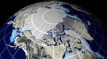 A NASA image shows a map of sea ice over the North Pole. (NASA)