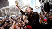 Josh Tillman, seen performing under his stage name Father John Misty in Boston in 2015, has hit a lofty target with his existential, politically charged new release, Pure Comedy. (Mike Lawrie/Getty Images)