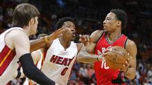 Toronto Raptors guard DeMar DeRozan tries to get past Miami Heat's Josh Richardson and Luke Babbitt in the first quarter of an NBA basketball game, on March 23, 2017, in Miami. (AP Photo/Joe Skipper) (Joe Skipper/AP)