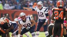 New England Patriots quarterback Tom Brady yells out at the line of scrimmage during the first quarter at FirstEnergy Stadium. Mandatory Credit: Scott R. Galvin-USA TODAY Sports (Scott Galvin/USA Today Sports)