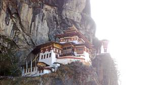The Tiger's Nest monastery, one of the holiest spots in Bhutan, built where Guru Rimpoche was said to have flown on a tigress and meditated for three months.