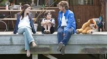 "Jessica Biel, Noah Lomax and Gerard Butler in a scene from ""Playing for Keeps."" (Dale Robinette/AP)"