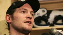 Matt Cooke speaks with reporters after a practice in Arlington, Va., Monday, April 7, 2008. The Penguins winger is currently in the middle of a league-wide controversy concerning a hit on Boston's Marc Savard. (AP Photo/Lawrence Jackson) (Lawrence Jackson)
