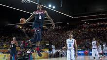 Rudy Gay of the US dunks the ball during the Group C Basketball World Cup match against Dominican Republic, in Bilbao, northern Spain, Wednesday, Sept. 3, 2014. The 2014 Basketball World Cup competition take place in various cities in Spain from Aug. 30 to Sept. 14. (Alvaro Barrientos/AP)