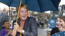 Parti Québécois Leader Pauline Marois arrives for a campaign rally in Montreal on Sunday. (CHRISTINNE MUSCHI/REUTERS)