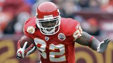 In this Oct. 18, 2009, file photo, Kansas City Chiefs wide receiver Dwayne Bowe carries the ball during an NFL football game against the Washington Redskins in Landover, Md. (Associated Press)
