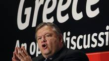Greek Minister of Finance Evangelos Venizelos speaks during a conference in Athens, Monday, Sept. 19, 2011. (PETROS GIANNAKOURIS/AP)