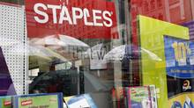 A Staples store display window is pictured in New York in this file photo. (Shannon Stapleton/REUTERS)