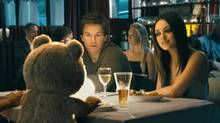 """Ted, voiced by Seth MacFarlane, Mark Wahlberg and Mila Kunis in a scene from """"Ted"""" (Photo Credit: Universal Pictures/Universal Pictures)"""