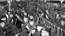 Canadian soldiers en route to the Suez Canal in 1956, the first major Canadian UN peacekeeping mission. (Harold Robinson/The Globe and Mail)