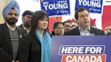 Immigration Minister Jason Kenney campaigns with Vancouver South candidate Wai Young on April 6, 2011. (Brett Beadle/Brett Beadle for The Globe and Mail)