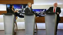 Olivia Chow, David Soknacki and Rob Ford attend a mayoral candidates' debate in Toronto on March 26, 2014. (MARK BLINCH/REUTERS)