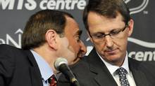 NHL Commissioner Gary Bettman (L) talks with True North Sports and Entertainment Chairman Mark Chipman as they attend a news conference in Winnipeg, Manitoba, May 31, 2011. Canada reclaimed one of its lost NHL franchises on Tuesday when the Atlanta Thrashers were sold to True North Sports and Entertainment and relocated to Winnipeg, triggering