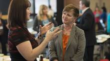 Becky Labey and Tracey Mulrooney participate in a custom leadership program for Servus Credit Union held at the University of Alberta in Edmonton in April, 2013. (Ian Jackson for The Globe and Mail)