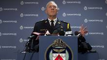 Chief Bill Blair speaks at a press conference at police headquarters in Toronto  about a shooting last night that left two people dead and 21 others wounded. Blair speaks to the media on Tuesday, July 17, 2012. (Matthew Sherwood/Globe and Mail)
