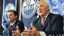 Pat Quinn (right) is joined by Edmonton Oilers General Manager Steve Tambellini as he speaks to reporters after being inveiled as the NHL's Edmonton Oilers new head coach, at Rexall Place, in Edmonton, Alberta on Tuesday, May 26, 2009.The 66 year old Quinn becomes the oldest coach in the NHL. THE CANADIAN PRESS/ Ben Lemphers (Ben Lemphers)