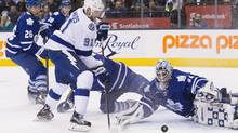 Toronto Maple Leafs' Garret Sparks makes a save against Tampa Bay Lightning captain Steven Stamkos on Feb. 29. (Chris Young/THE CANADIAN PRESS)