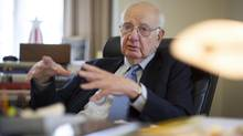Paul Volcker, a former chairman of the Federal Reserve, at his office in New York, May 28, 2013. (ROBERT CAPLIN/NYT)