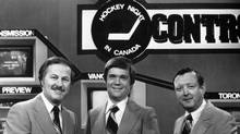 The faces of CBC's Hockey Night in Canada 31 years ago: From left, Brian McFarlane, Dave Hodge and Bill Hewitt. (CBC/CBC)
