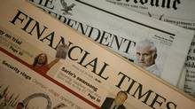 A copy of a Financial Times newspaper is displayed for sale in a newsagent in central London July 28, 2008. (ALESSIA PIERDOMENICO/REUTERS)