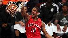 Toronto Raptors guard DeMar DeRozan (10) dunks the ball against the Brooklyn Nets during the second half in game six of the first round of the 2014 NBA Playoffs at Barclays Center. (Adam Hunger/USA Today Sports)