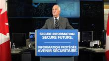The Honourable Vic Toews, Canada's Public Safety Minister, launches Canada's Cyber Security Strategy that is designed to enhance protection from cyber threats for Canadian governments, industries and families from coast to coast to coast, Sunday, October 3, 2010, in Ottawa. (Patrick Doyle/MARKETWIRE)