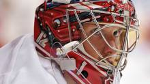 Detroit Red Wings goalie Jimmy Howard (35) before the game against the Chicago Blackhawks at the United Center. Rob Grabowski-US PRESSWIRE (Rob Grabowski/US PRESSWIRE)