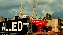 """The Canadian Coast Guard ship """"Tanu"""" in Allied Shipbuilders' floating drydock. (COURTESY OF ALLIED SHIPBUILDERS)"""