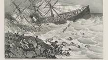The Atlantic sank near Halifax on April 1, 1873. Its captain was unfamiliar with Nova Scotia's jagged shoreline and slammed the vessel onto the rocks at full speed. survivors. (Library of Congress)