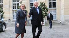 French Prime Minister Jean-Marc Ayrault greets Quebec Premier Pauline Marois at the Hotel Matignon in Paris on Dec. 13, 2013. (Jacques Brinon/Associated Press)