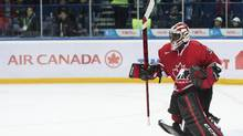 Team Canada goalie Malcolm Subban, reacts as he skates out to celebrate with his teammates after defeating Team USA during third period IIHF World Junior Championships hockey action in Ufa, Russia, on Sunday, Dec. 30, 2012. (CP)