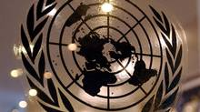 The United Nations graces a door at the world body's headquarters in New York. (STAN HONDA/AFP/GETTY IMAGES)
