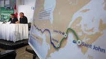 The Energy East pipeline is shown on a map during a news conference in Calgary in this Aug. 1, 2013 file photo. (TODD KOROL/REUTERS)