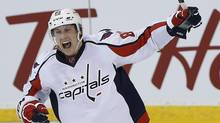 Jay Beagle celebrates his game-winning goal against the Jets. (JOHN WOODS/THE CANADIAN PRESS)