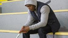 Stephan James plays a budding hockey in Across the Line. (Red Eye Media)