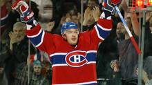 Andrei Markov of the Montreal Canadiens celebrates a goal for the Habs in the 2008-09 season. (Richard Wolowicz/2009 Getty Images)