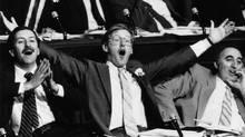Ontario NDP leader Bob Rae gesticulates in the provincial legislature on June 18, 1985. (Thomas Szlukovenyi/Thomas Szlukovenyi/The Globe and Mail)