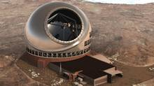 A photo-illustration of the new proposed Thirty Meter Telescope (TMT).