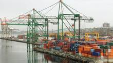 Photo from 2008 of the Ceres container terminal in Halifax. At $2.3-billion, Canada's trade deficit in July narrowly eclipsed the old mark, set in September 2010. (Paul Darrow For The Globe and Mail)