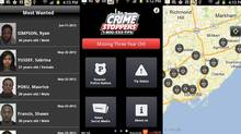 A series of screenshots from Toronto Crime Stopper's new app, which lets users send videos, photos and other anonymous tips. (Screengrabs/Google Play)