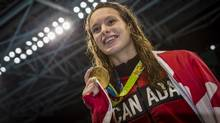 Penny Oleksiak after she won gold in Women's 100m Freestyle Final at Olympic Aquatics Stadium during Rio Olympics August 11, 2016. (John Lehmann/The Globe and Mail)