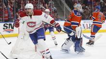 Montreal Canadiens centre Alex Galchenyuk celebrates a goal against Edmonton Oilers goalie Cam Talbot during third period NHL action in Edmonton, Alta., on March 12, 2017. (JASON FRANSON/THE CANADIAN PRESS)