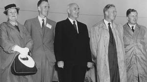 New Brunswick industrialist K.C. Irving and his family attend a ceremony opening a new $50,000,000 oil refinery in east Saint John, N.B., July 22, 1960. Left to right are Mrs. K.C. Irving, son Arthur L. Irving, Mr. K.C. Irving, and sons James K. Irving and John E. (Jack) Irving.