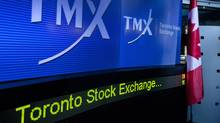 """TMX Group Inc. signage is displayed on a screen in the broadcast center of the Toronto Stock Exchange (TSX) in Toronto, Ontario, Canada, on Monday, Oct. 31, 2011. A takeover of Toronto Stock Exchange owner TMX Group Inc. by a group of Canadian banks and pension funds is """"significantly"""" more likely to succeed after TMX's board endorsed the C$3.73 billion ($3.73 billion) offer, analysts said. Photographer: Norm Betts/Bloomberg (Norm Betts/Bloomberg)"""