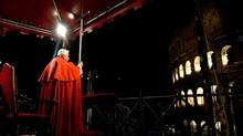 Pope Benedict XVI presides over the Via Crucis procession in Rome on Good Friday. (Pool/Getty Images)