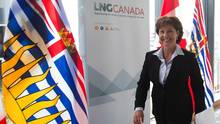 Premier Christy Clark will go to Ottawa in advance of a federal decision on climate-change measures that could create a new hurdle for the liquefied natural gas industry in B.C. (DARRYL DYCK/THE CANADIAN PRESS)